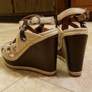 Lucky Brand Shoes - Lucky Brand buckle stud jute canvas wedge sandals
